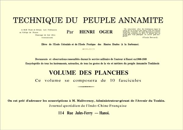 Technique Du Peuple Annamite (Kỹ thuật của người An Nam) - Henri Oger, Hà Nội, Năm 1908-1909